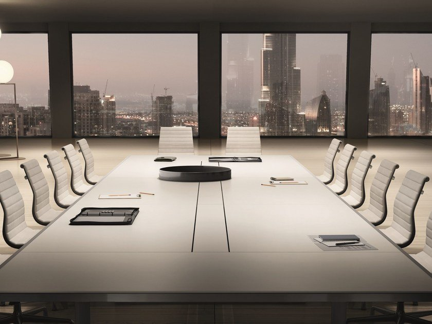 Rectangular tanned leather meeting table 45/90 | Tanned leather meeting table by IFT