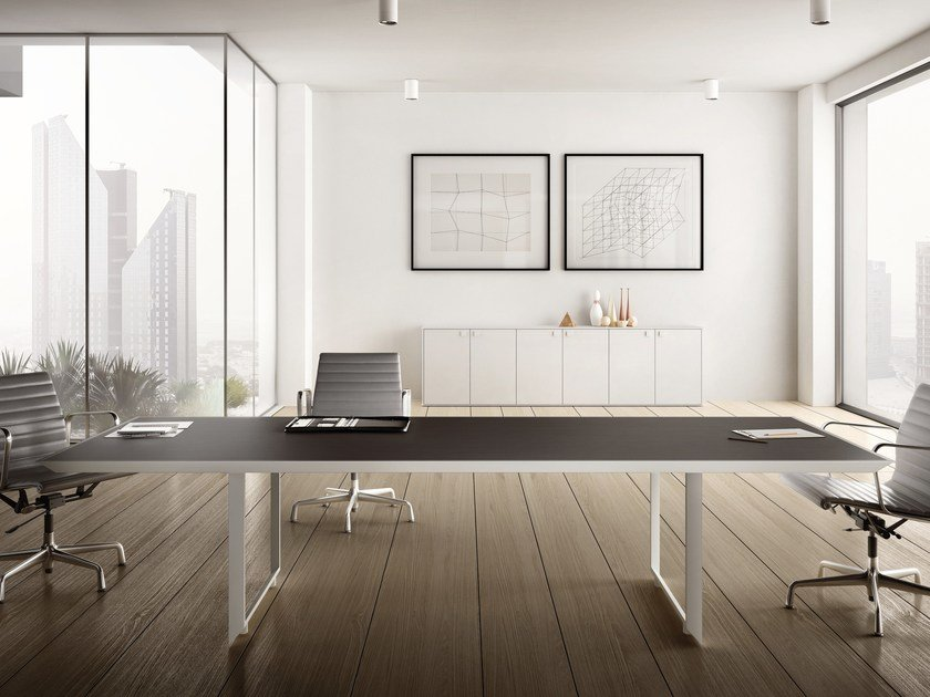 Rectangular steel meeting table 45/90 | Steel and wood meeting table by IFT