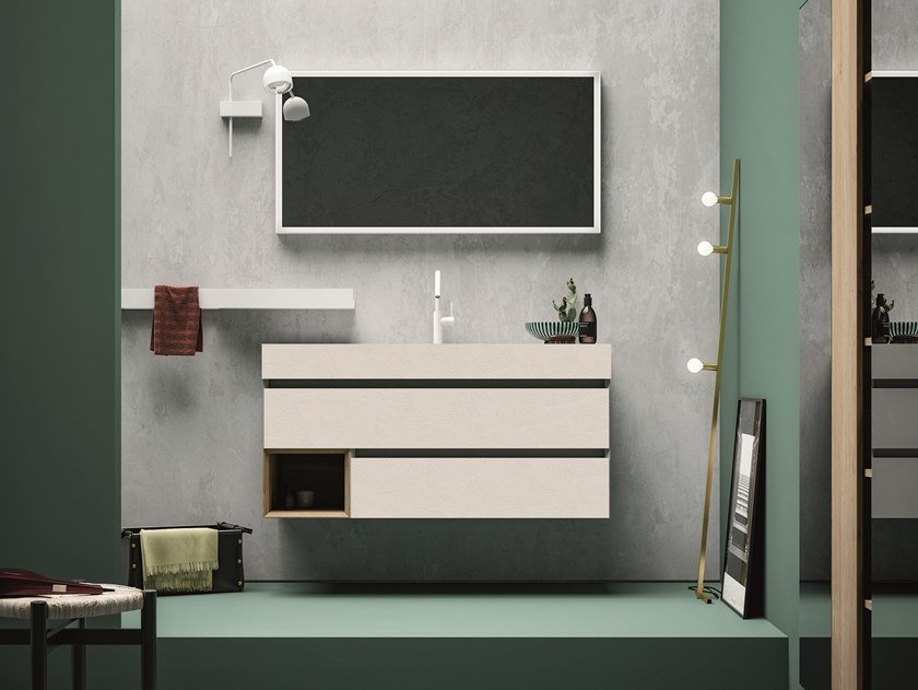 Melamine vanity unit with drawers 45 COMP.2 by Birex