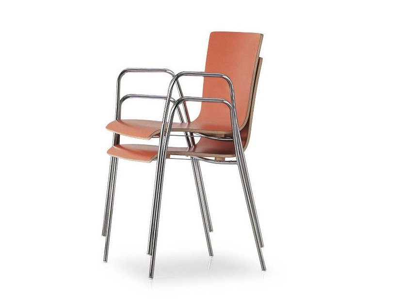 Stackable chair with armrests 45 HOSPITALITY | Chair with armrests by FANTONI