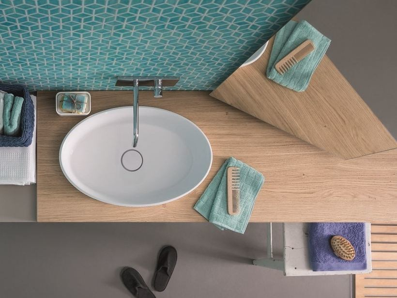 Wood veneer washbasin countertop 45 | Washbasin countertop by Birex