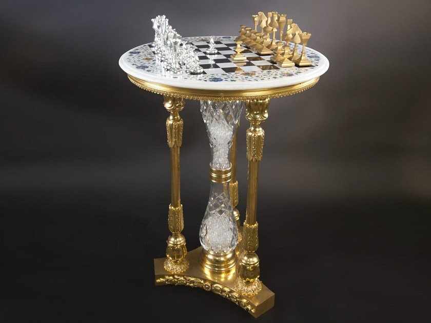 Round Bronze Chess Table 45400 | Chess Table By Tisserant