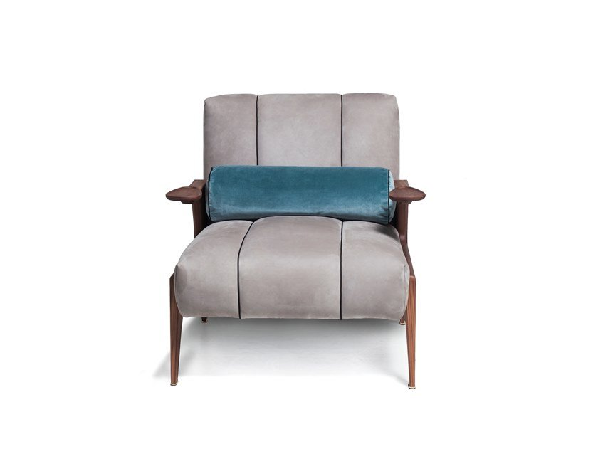Leather or fabric armchair with armrests 50 ITALO | Armchair by Vibieffe