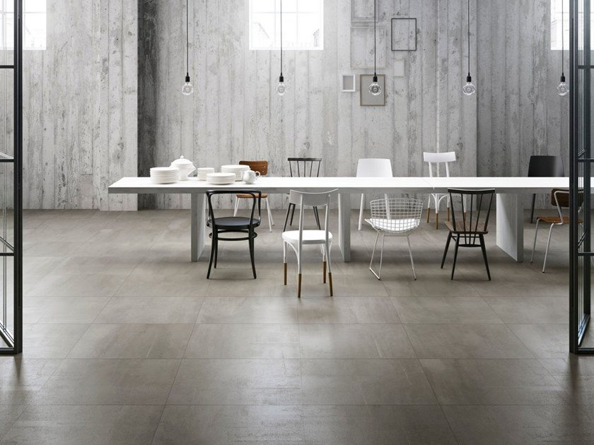 Indoor Outdoor Porcelain Stoneware Wall Floor Tiles With Concrete Effect Resin 500