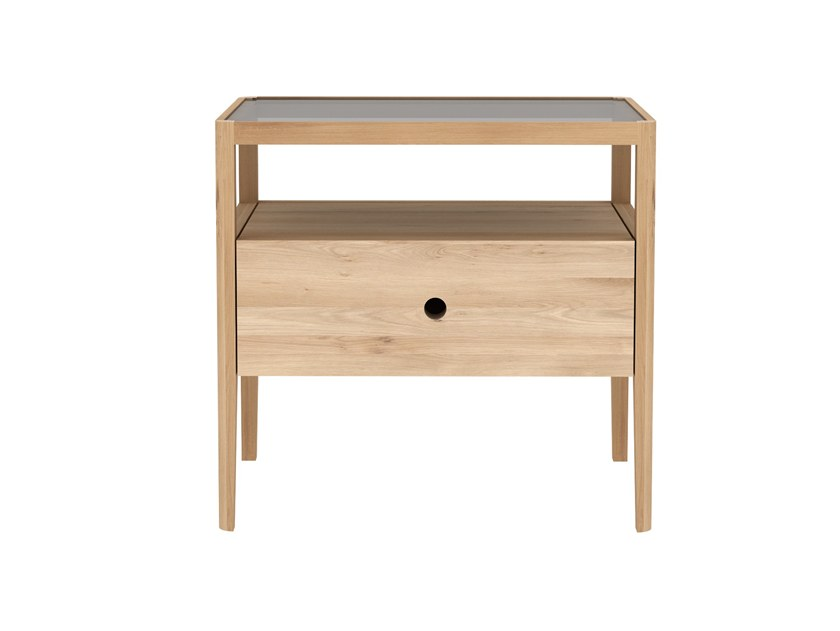 Rectangular oak bedside table OAK SPINDLE | Bedside table by Ethnicraft