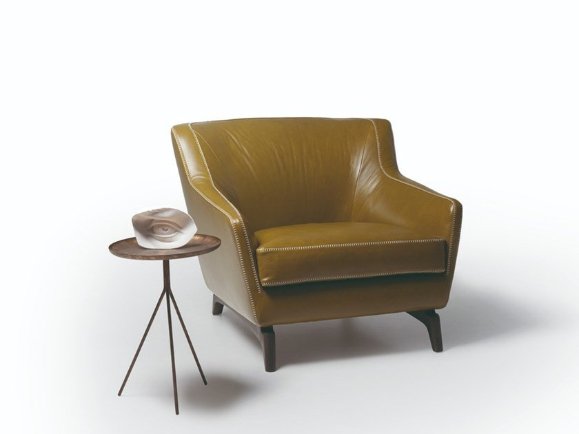 Leather or fabric armchair with armrests 575 HI_STORY | Armchair by Vibieffe