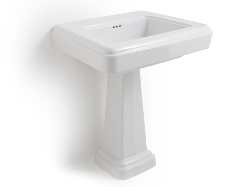 Rectangular single pedestal ceramic washbasin SO FIFTIES   Pedestal washbasin by BLEU PROVENCE