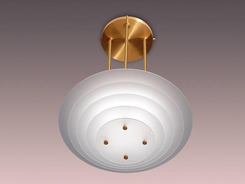 Lampada a sospensione a luce diretta in vetro 58 BIS | Lampada a sospensione by Jean Perzel