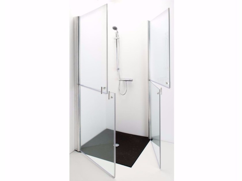 Corner tempered glass shower cabin with hinged door 591 | Shower cabin by Saniline