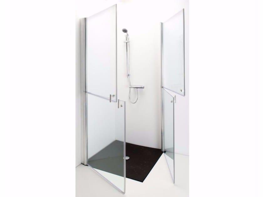 Box doccia angolare in vetro temperato con porte a battente 591 | Box doccia by Saniline