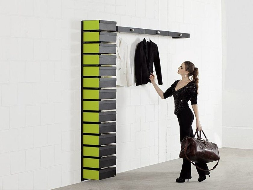 Lacquered wall mounted steel shoe cabinet FLEX 595 by Wissmann raumobjekte