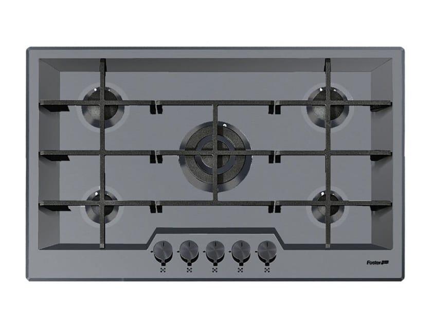 Piano cottura a gas filo top in acciaio inox 5F KE FT PVD ...