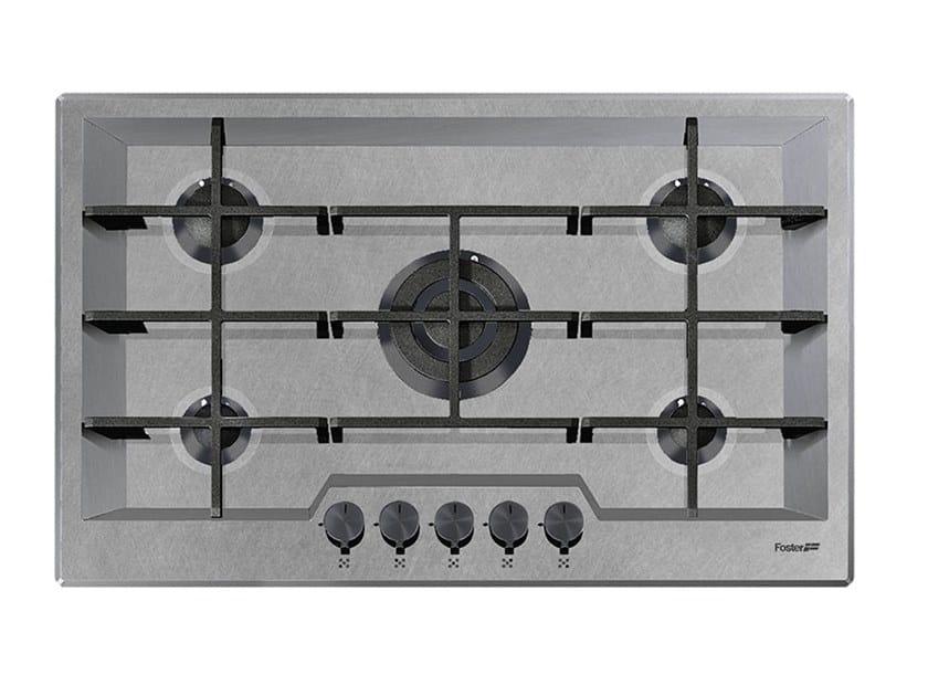 Piano cottura a gas filo top in acciaio inox 5F KE FT ...
