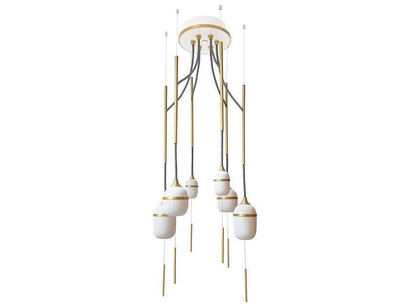 LED porcelain chandelier FLEUR DE KAOLIN 6 by designheure