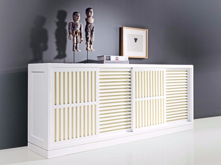 Lacquered wooden sideboard with sliding doors MULTIMODUS 6280-U1/4P by MARKTEX