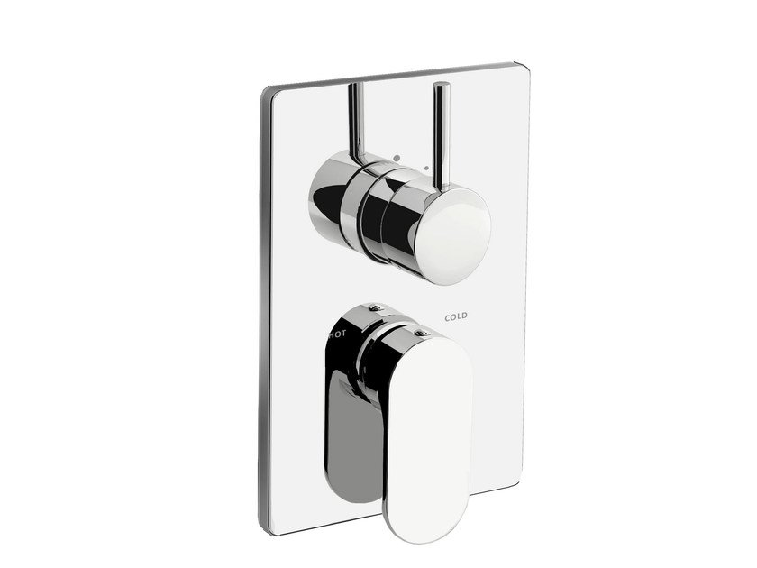 2 hole chromed brass shower mixer with plate SMILE 64 - 6450198 by Fir Italia