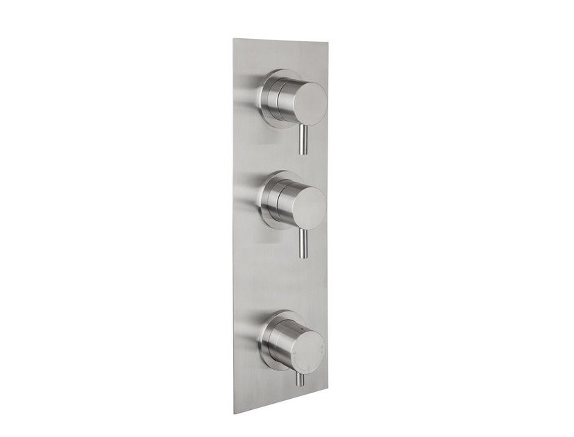 3 hole stainless steel shower tap with brushed finishing with plate STIRIANA 66P3 by MINA
