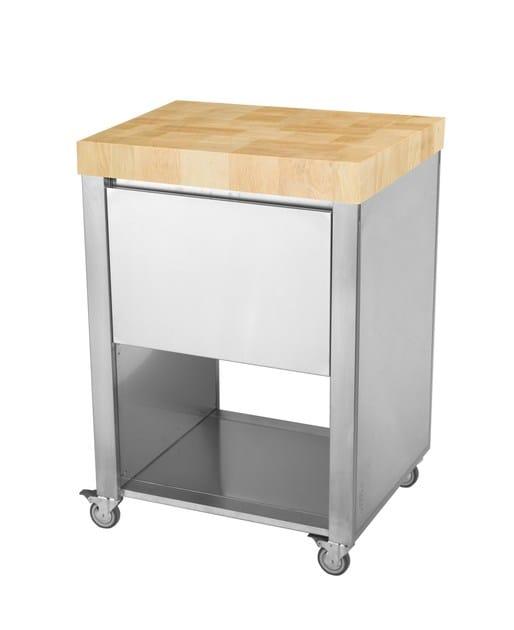 Jokodomus Inox E Legno Freestanding In Cucina 679521Modulo Acciaio WIDH9E2Y