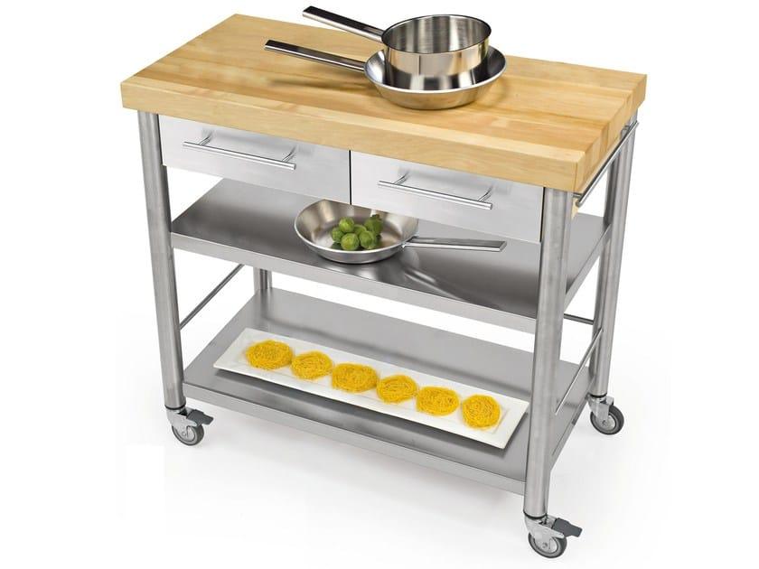 Modulo cucina freestanding in acciaio inox e legno 692802 - Cucina freestanding ...