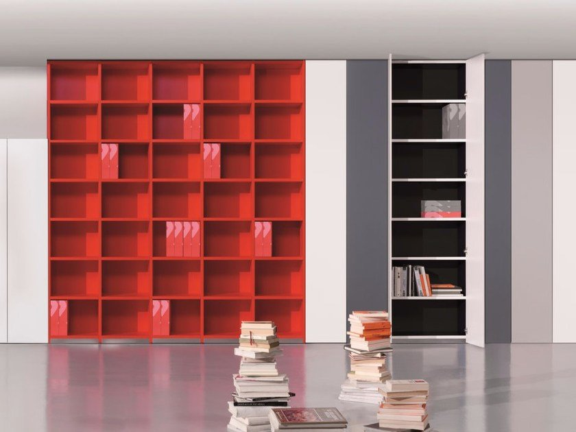 Wall-mounted lacquered bookcase 6XME ELASTOBOXES | Bookcase by Ultom