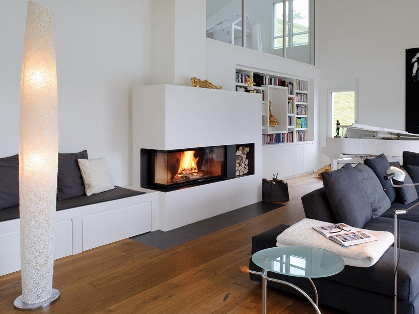 Wood-burning corner steel fireplace with panoramic glass 720 by RÜEGG