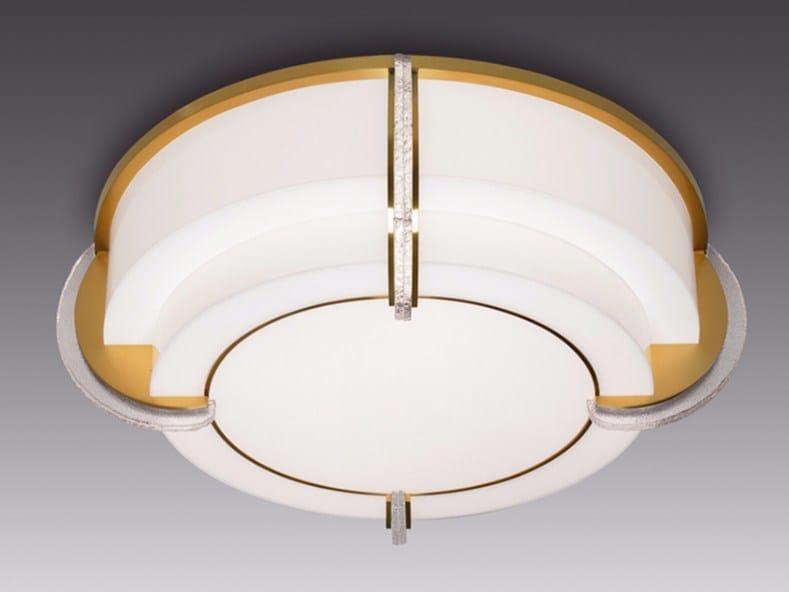 Plafoniera a luce diretta in vetro 727   Plafoniera by Jean Perzel