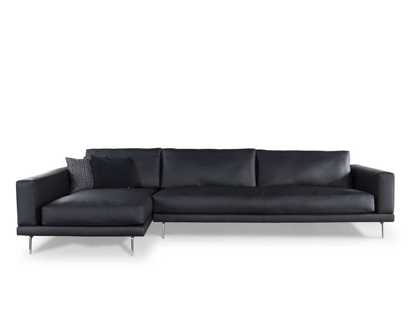 Leather sofa with chaise longue 750 LINK | Sofa with chaise longue by Vibieffe