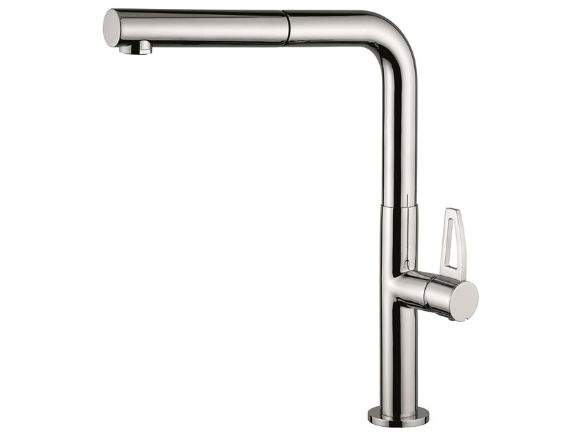 Countertop 1 hole brass kitchen mixer tap with swivel spout 78066LA | Kitchen mixer tap with pull out spray by EMMEVI RUBINETTERIE