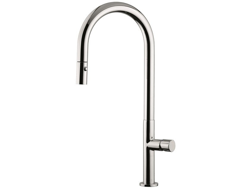 Countertop brass kitchen mixer tap with pull out spray 78067 | Kitchen mixer tap with swivel spout by EMMEVI RUBINETTERIE