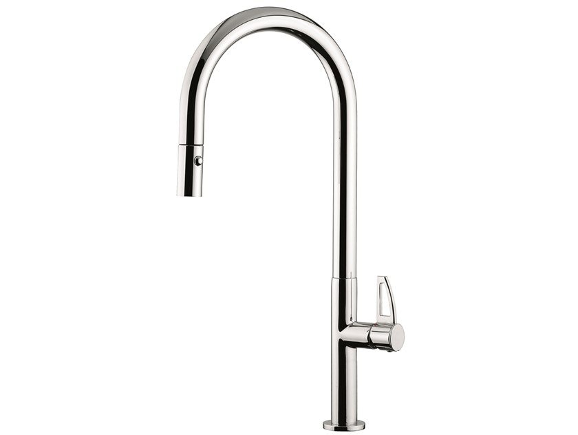 Countertop brass kitchen mixer tap with swivel spout 78067LA | Kitchen mixer tap with pull out spray by EMMEVI RUBINETTERIE
