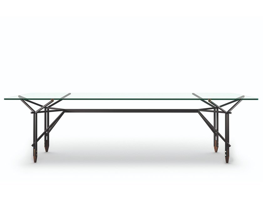 Tavolo in acciaio e vetro 815 OLIMPINO by Cassina