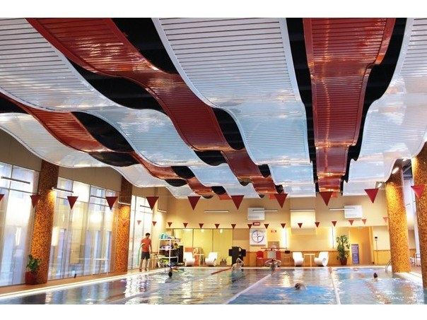 Acoustic metal acoustic ceiling clouds 84R CURVED by HunterDouglas Architectural