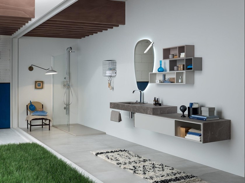 Single wall-mounted vanity unit with mirror 89 - 3.0 By RAB Arredobagno