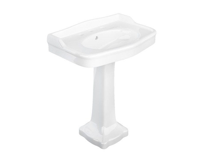Rectangular pedestal ceramic washbasin PROVENCE '800 | Pedestal washbasin by BLEU PROVENCE