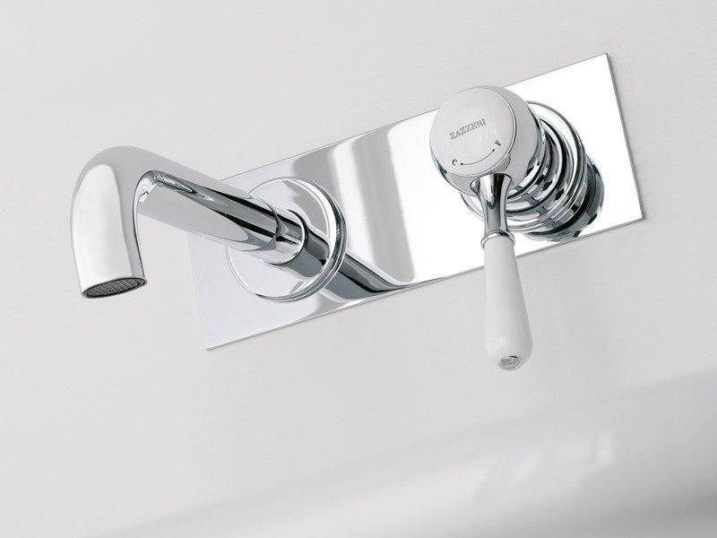 Wall-mounted single handle washbasin mixer with plate 900 | Wall-mounted washbasin mixer by ZAZZERI