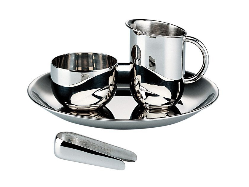 Steel sugar and cream set 90042 | Sugar and cream set by Alessi