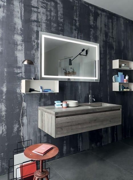 mobile lavabo singolo sospeso con specchio 91 - 3.0 by rab arredobagno - Arredo Bagno Rab