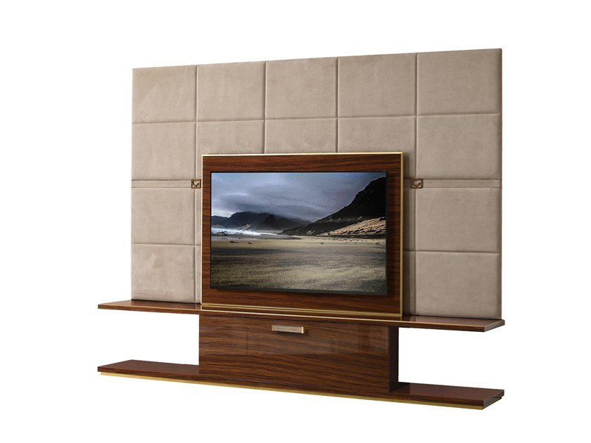 Leather TV cabinet with flap doors RICHMOND | Leather TV cabinet by Barnini Oseo