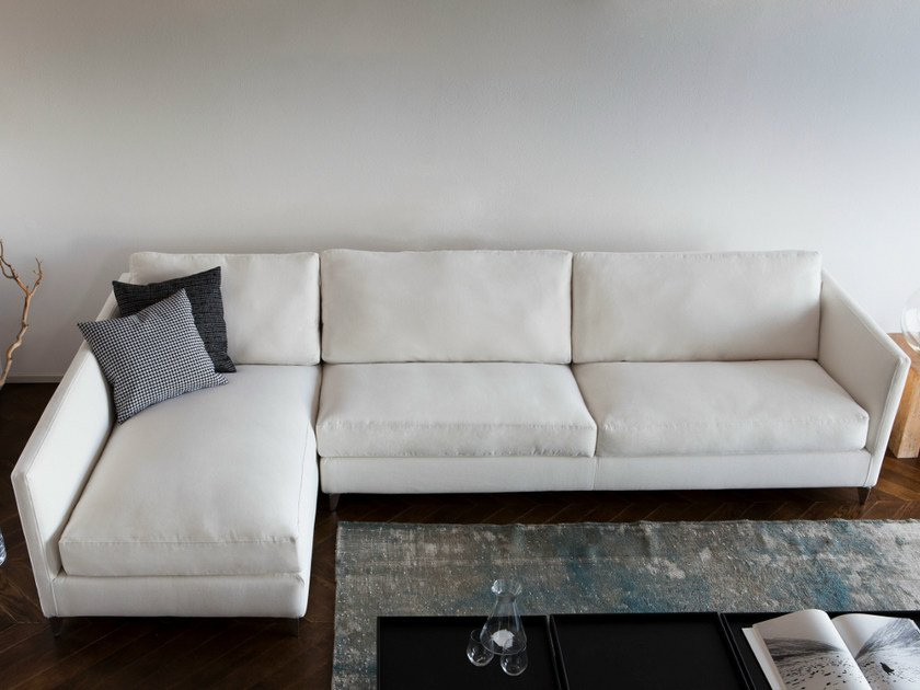Fabric sofa with chaise longue 910 ZONE SLIM | Sofa with chaise longue by Vibieffe