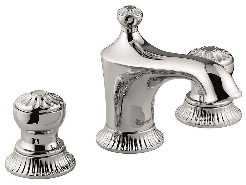 3 hole countertop brass washbasin tap with automatic pop-up waste 98033V | 3 hole washbasin tap by EMMEVI RUBINETTERIE
