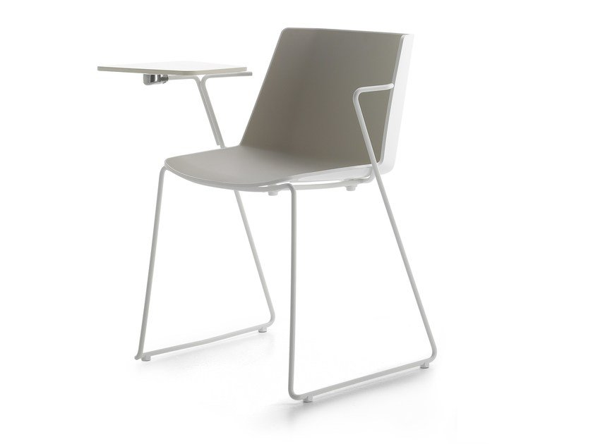 Sled base polypropylene training chair with writing tablet AÏKU | Training chair with writing tablet by MDF Italia