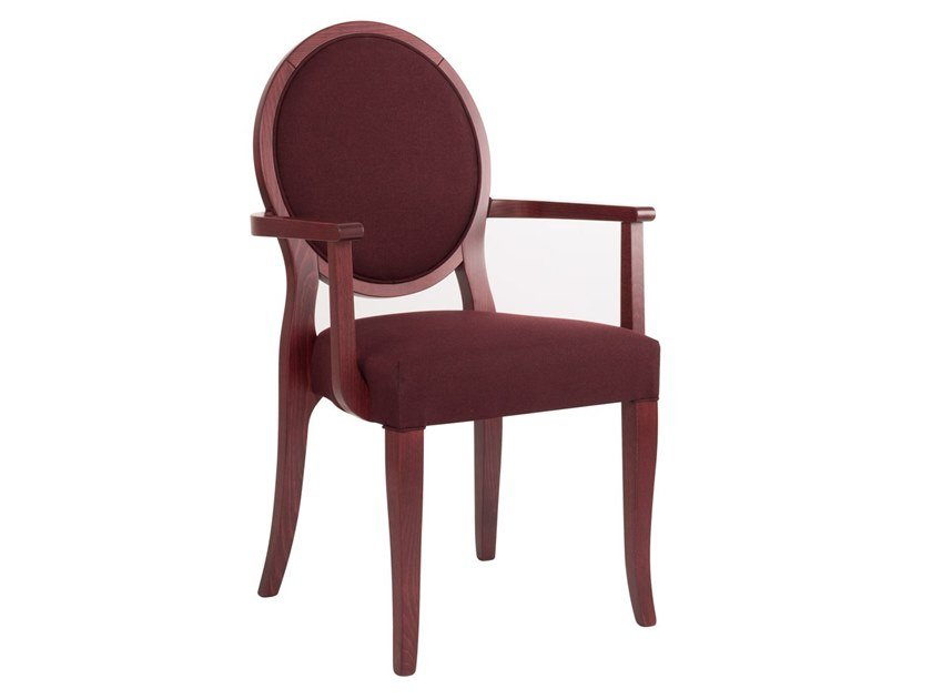 Upholstered fabric chair with armrests A-ROUND PO01 by New Life