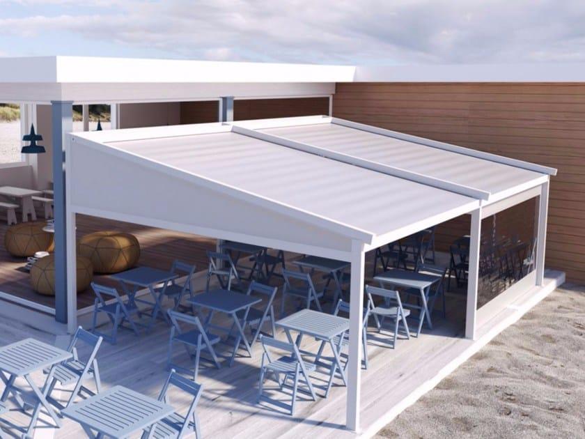 Freestanding motorized aluminium pergola with sliding cover A2 COMPACT AS by KE Outdoor Design
