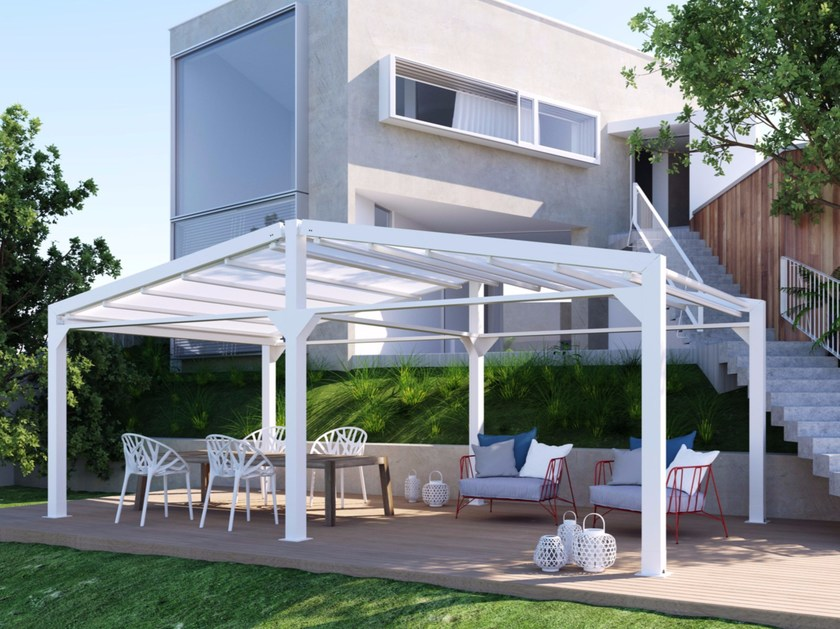Freestanding motorized aluminium pergola with sliding cover A4 AD by KE Outdoor Design