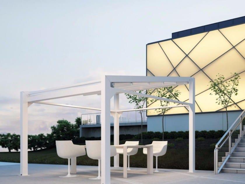 Freestanding motorized aluminium pergola with sliding cover A4 AS by KE Outdoor Design