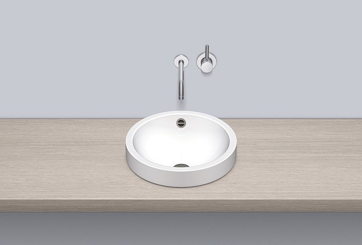 Sit-on basin from glazed steel AB.K400.1 by Alape