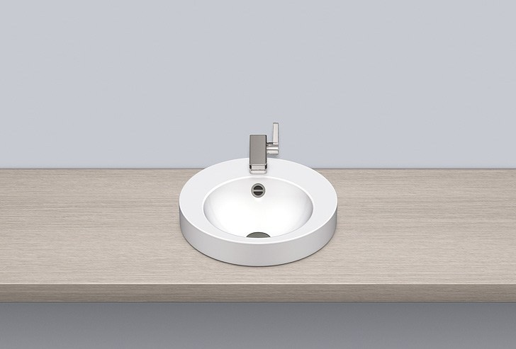 Sit-on basin from glazed steel AB.K400H.1 by Alape