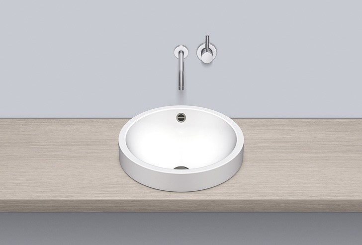 Sit-on basin from glazed steel AB.K450.1 by Alape