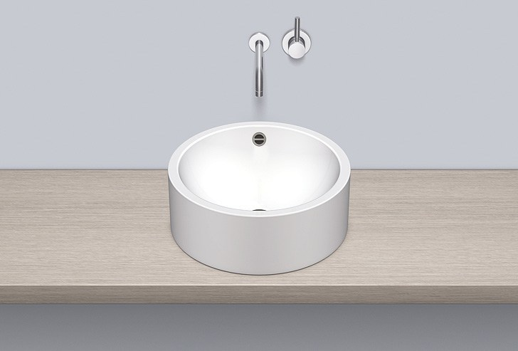 Sit-on basin from glazed steel AB.K450.2 by Alape