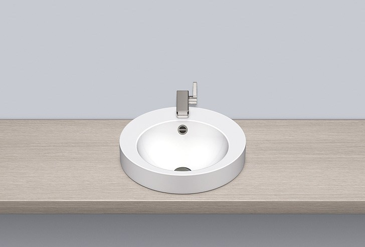 Sit-on basin from glazed steel AB.K450H.1 by Alape